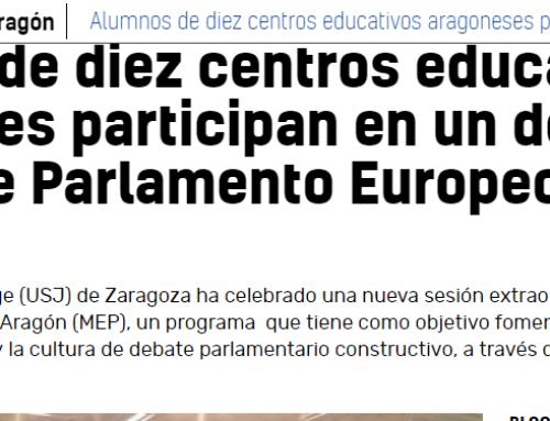 Alumnos de diez centros educativos aragoneses participan en un debate del Modelo de Parlamento Europeo -20 minutos-